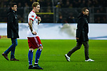 10.02.2018, Signal Iduna Park, Dortmund, GER, 1.FBL, Borussia Dortmund vs Hamburger SV, <br /> <br /> im Bild | picture shows:<br /> Jens Todt (Sportvorstand HSV) mit Andr&eacute; Hahn (HSV #11) und Bernd Hollerbach (Trainer Hamburger SV) nach dem Spiel, <br /> <br /> <br /> Foto &copy; nordphoto / Rauch