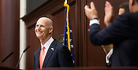 TALLAHASSEE, FLA. 3/3/15-Gov. Rick Scott, left, basks in the applause prior to giving the State of the State address during the opening day of the 2015 Legislative Session Tuesday at the Capitol in Tallahassee.<br /> <br /> COLIN HACKLEY PHOTO