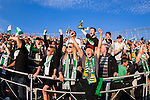 Stockholm 2013-06-23 Fotboll Superettan , Hammarby IF - &Auml;ngelholms FF :  <br /> Hammarby Bajen fans p&aring; S&ouml;derstadions &Ouml;stra l&auml;ktare &auml;r glada efter att Hammarby 10 Kennedy Bakircioglu gjort 1-1 i det sista m&aring;let i sista matchen p&aring; S&ouml;derstadion<br /> (Foto: Kenta J&ouml;nsson) Nyckelord:  supporter fans publik supporters jubel gl&auml;dje lycka glad happy