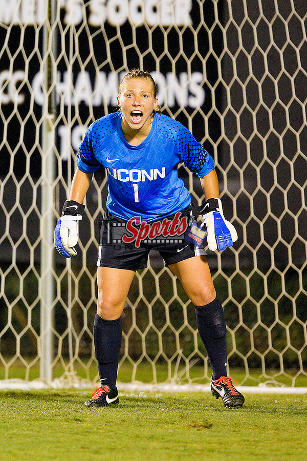 University of Connecticut Huskies goalie Jessica Dulski #1 yells out instructions against the Wake Forest Demon Deacons at Spry Soccer Stadium on September 2, 2011 in Winston-Salem, North Carolina.  The Huskies defeated the Demon Deacons 2-1.  (Brian Westerholt / Sports On Film)