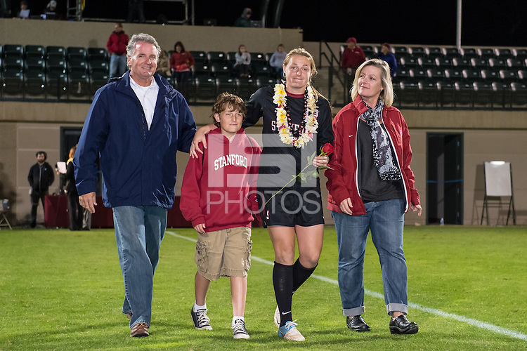 STANFORD, CA - October 21, 2012: Aly Gleason with her family during the Senior Day celebration after the Stanford vs Washington women's soccer match in Stanford, California.  Stanford won 3-0.