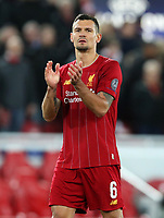 27th November 2019; Anfield, Liverpool, Merseyside, England; UEFA Champions League Football, Liverpool versus SSC Napoli ; Dejan Lovren of Liverpool returns the applause from the supporters on the Kop after the final whistle - Editorial Use