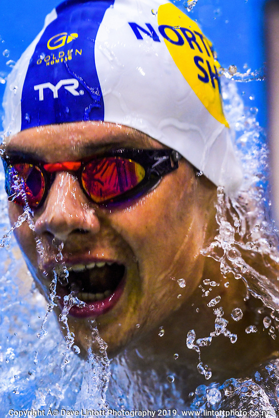 Samuel Poching competes in the 400m medley. Day three finals of the Swimming NZ National Age Group Championships at Wellington Regional Aquatic Centre in Wellington, New Zealand on Thursday, 18 April 2019. Photo: Dave Lintott / lintottphoto.co.nz