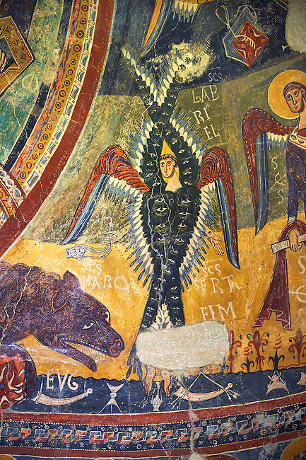 Second half of the twelfth Century Romanesque frescoes of the Apse d'Esterri de Cardos depicting a Byzantine style angel. The church of Sant Pau d'Estirri de Cardos, Spain. National Art Museum of Catalonia, Barcelona. MNAC 15970