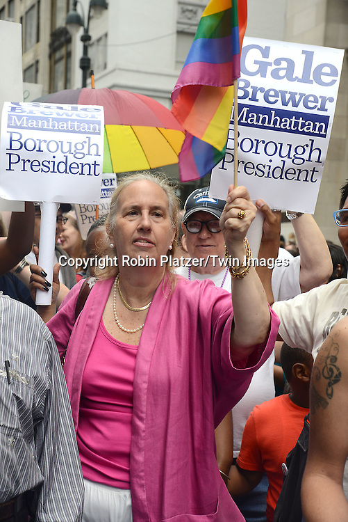 Gale Brewer attends the 2015 NYC Pride March on June 28, 2015 on Fifth Avenue in New York City. <br /> <br /> photo by Robin Platzer/Twin Images<br />  <br /> phone number 212-935-0770