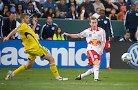 Chris Leitch gets off a cross ahead of Robbie Rogers during MLS Cup 2008. Columbus Crew defeated the New York Red Bulls, 3-1, Sunday, November 23, 2008. Photo by John Todd/isiphotos.com