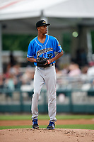 Akron RubberDucks starting pitcher Triston McKenzie (32) gets ready to deliver a pitch during a game against the Harrisburg Senators on August 18, 2018 at FNB Field in Harrisburg, Pennsylvania.  Akron defeated Harrisburg 5-1.  (Mike Janes/Four Seam Images)
