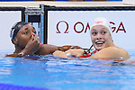 (L-R) Simone Manuel (USA), Penelope Oleksiak (CAN), AUGUST 11, 2016 - Swimming : <br /> Women's 100m Freestyle Final <br /> at Olympic Aquatics Stadium <br /> during the Rio 2016 Olympic Games in Rio de Janeiro, Brazil. <br /> (Photo by Yohei Osada/AFLO SPORT)