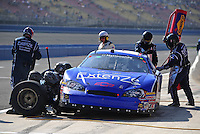 Oct. 10, 2009; Fontana, CA, USA; NASCAR Nationwide Series driver Kevin Conway pits during the Copart 300 at Auto Club Speedway. Mandatory Credit: Mark J. Rebilas-