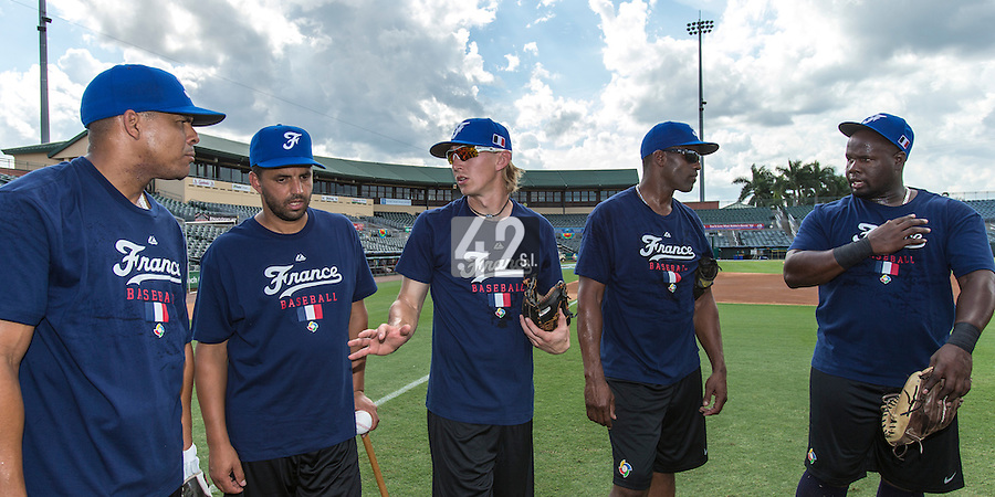 18 September 2012: France Ernesto Martinez, Jamel Boutagra, Luc Piquet, Sneideer Santos and Rene Leveret are seen during Team France practice, at the 2012 World Baseball Classic Qualifier round, in Jupiter, Florida, USA.