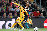 FC Barcelona's Jordi Alba (r) and  Atletico de Madrid's Fernando Torres during Champions League 2015/2016 match. April 5,2016. (ALTERPHOTOS/Acero) <br /> Barcellona 05-04-2016 <br /> Football Calcio 2015/2016 Champions League <br /> Barcellona - Atletico Madrid Quarti di finale<br /> Foto Alterphotos / Insidefoto <br /> ITALY ONLY