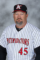 Kannapolis Intimidators pitching coach Brian Drahman (45) poses for a photo at Kannapolis Intimidators Stadium on April 5, 2016 in Kannapolis, North Carolina.  (Brian Westerholt/Four Seam Images)