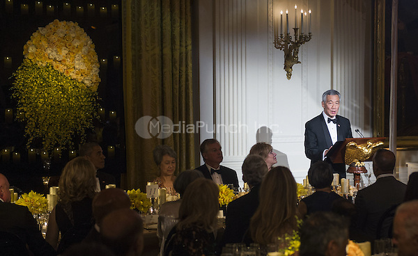 Prime Minister Lee Hsien Loong of Singapore makes remarks at the State Dinner in the East Room of the White House in Washington, DC on Tuesday, August 2, 2016. Photo by Leigh Vogel/UPI<br /> Credit: Leigh Vogel / Pool via CNP/MediaPunch
