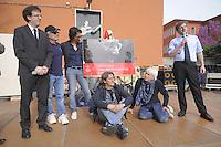 - Milano, festa tributo per l'intitolazione al musicista e cantautore Enzo Jannacci della Casa per l'Accoglienza per i senzatetto in viale Ortles. Da sinistra: il musicista Filippo del Corno, assessore alla cultura, Gino Vignali, Paolo Jannacci, Nico Colonna, Michele Mozzati e Pierfrancesco Majorino, assessore alle Politiche sociali <br /> <br /> - Milan feast tribute for the dedication to musician and singer-songwriter Enzo Jannacci of House for Reception of  homeless in Ortles avenue. Left to right: musician Filippo del Corno, councilor for Culture, Gino Vignali, Paolo Jannacci, Nico Colonna, Michele Mozzati and Pierfrancesco Majorino, Councillor for Social Policies