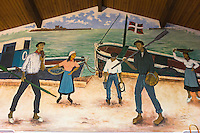 France, Aquitaine, Pyrénées-Atlantiques, Pays Basque, Ciboure: Fresque murale représentant la vie des pêcheurs basques  au  Comptoir de la Mer, La boutique de la Coopérative Maritime   //  France, Pyrenees Atlantiques, Basque Country, Ciboure: Mural depicting the life of Basque fishermen Comptoir de la Mer, The shop of the Maritime Cooperative