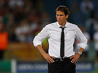 AS Roma's head coach Rudi Garcia before  the Champions League Group E soccer match against Barcellona  at the Olympic Stadium in Rome September 16, 2015