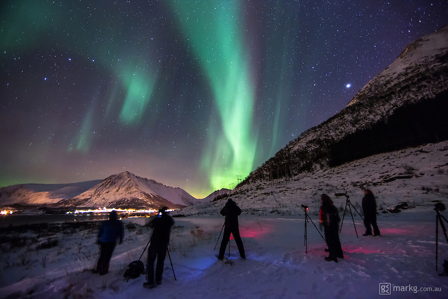 Photographers taking part in the Art of Night photography tour experiencing their first ever Aurora Borealis on the Lofoten Islands in Norway - they weren't disapointed in what they saw.