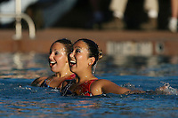 STANFORD, CA - FEBRUARY 7:  Kimiko Koko Urata (right) and Taylor Durand (left) of the Stanford Cardinal during Stanford's 88-78 win against the Incarnate Word Cardinals on February 7, 2009 at Avery Aquatic Center in Stanford, California.