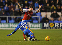 Shrewsbury Town's Fejiri Okenabirhie is fouled by Fleetwood Town's Lewie Coyle<br /> <br /> Photographer Kevin Barnes/CameraSport<br /> <br /> The EFL Sky Bet League One - Shrewsbury Town v Fleetwood Town - Tuesday 1st January 2019 - New Meadow - Shrewsbury<br /> <br /> World Copyright © 2019 CameraSport. All rights reserved. 43 Linden Ave. Countesthorpe. Leicester. England. LE8 5PG - Tel: +44 (0) 116 277 4147 - admin@camerasport.com - www.camerasport.com