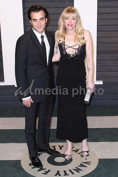28 February 2016 - Beverly Hills, California - Nicholas Jarecki, Courtney Love. 2016 Vanity Fair Oscar Party hosted by Graydon Carter following the 88th Academy Awards held at the Wallis Annenberg Center for the Performing Arts. Photo Credit: AdMedia