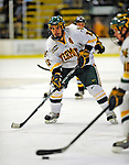 16 November 2008: University of Vermont Catamount forward Corey Carlson, a Senior from Two Harbors, MN, in action against the Merrimack College Warriors at Gutterson Fieldhouse, in Burlington, Vermont. The Catamounts defeated the Warriors 2-1 in front of a near-capacity crowd of 3,813...Mandatory Photo Credit: Ed Wolfstein Photo