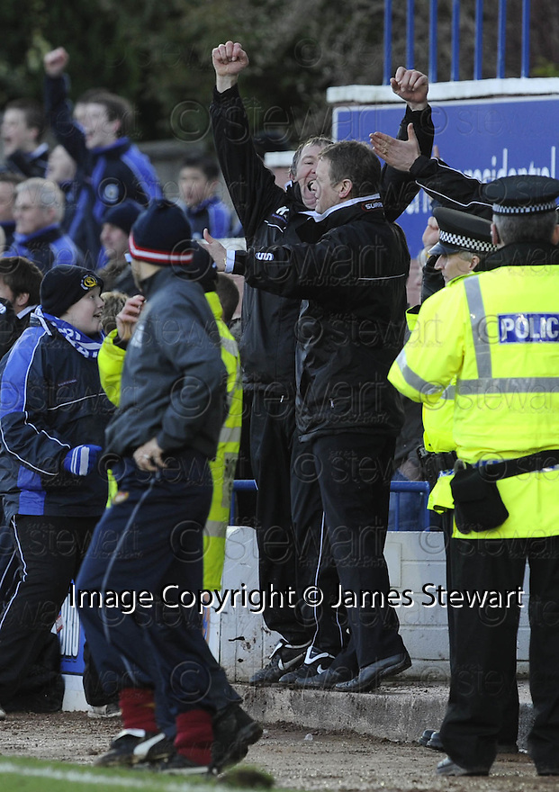 08/03/2008    Copyright Pic: James Stewart.File Name : sct_jspa19_qots_v_dundee.THE QUEEN OF THE SOUTH DUG OUT CELEBRATE AT THE END.James Stewart Photo Agency 19 Carronlea Drive, Falkirk. FK2 8DN      Vat Reg No. 607 6932 25.Studio      : +44 (0)1324 611191 .Mobile      : +44 (0)7721 416997.E-mail  :  jim@jspa.co.uk.If you require further information then contact Jim Stewart on any of the numbers above........