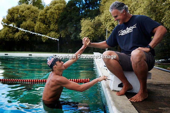 HOWICK, SOUTH AFRICA APRIL 6: Sixteen-year-old swimmer Michael Andrew trains in a pool on April 6, 2015 in Howick, Natal, South Africa. Michael has broken many records already and he is seen as the new Michael Phelps. He turned pro at 14 after signing his first endorsement deal. Peter, his father trains Michael and he grew up in the US. His parents emigrated from South Africa and he spent some time in the country in April 2015 to visit his grandparents. (Photo by: Per-Anders Pettersson)