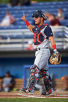 Brooklyn Cyclones catcher Brandon Brosher (15) during a game against the Batavia Muckdogs on July 6, 2016 at Dwyer Stadium in Batavia, New York.  Batavia defeated Brooklyn 15-2.  (Mike Janes/Four Seam Images)