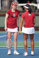 STANFORD, CA - April 14, 2011: Carolyn McVeigh and Stacey Tan of Stanford women's tennis during Stanford's dual against St. Mary's. Stanford won 6-1. McVeigh/Tan defeated St. Mary's Jullien/Soper 9-7.