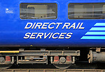 Direct Rail Services train, carriage,  Norwich railway station, Norfolk, England, UK