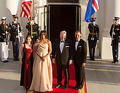 United States President Barack Obama and First Lady Michelle Obama welcome  Sigurour Ingi Johannsson, Prime Minister of the Republic of Iceland (2nd right) and spouse Jenni Haukio (left) as they arrive May 13, 2016 at The White House in Washington, DC to attend a State Dinner while participating in the U.S.- Nordic Leaders Summit. <br /> Credit: Chris Kleponis / CNP