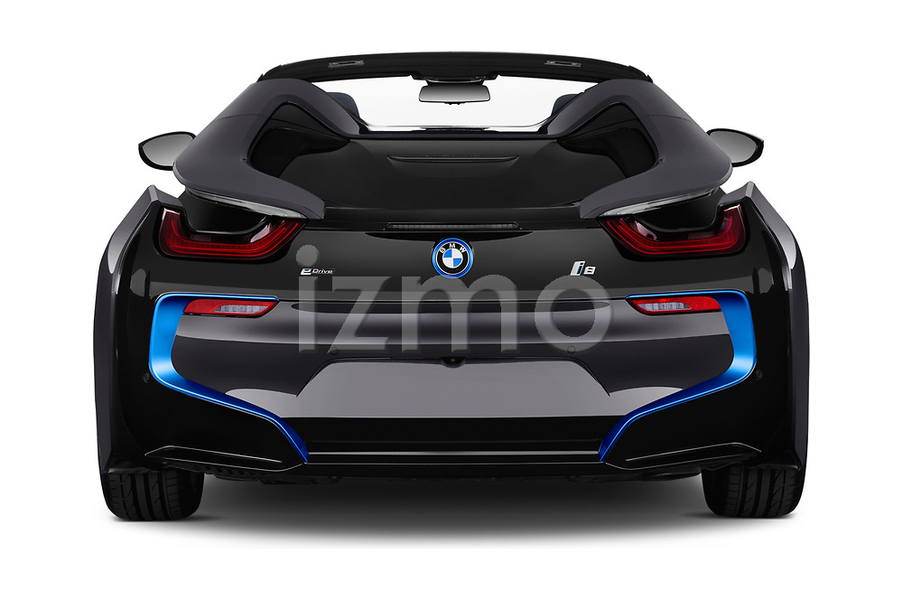 Straight rear view of a 2019 BMW i8 Base 2 Door Convertible stock images