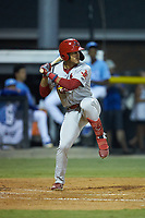 Trejyn Fletcher (34) of the Johnson City Cardinals at bat against the Burlington Royals at Burlington Athletic Stadium on September 3, 2019 in Burlington, North Carolina. The Cardinals defeated the Royals 7-2 to even Appalachian League Championship series at one game a piece. (Brian Westerholt/Four Seam Images)