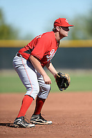 Cincinnati Reds third baseman Gavin LaValley (3) during an Instructional League game against the Texas Rangers on October 3, 2014 at Surprise Stadium Training Complex in Surprise, Arizona.  (Mike Janes/Four Seam Images)
