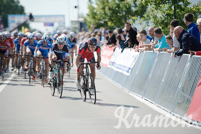 Philippe Gilbert (BEL/BMC) trying to escape from the peloton with 2 more laps to go with Gianni Meersman (BEL/OmegaPharma-Quickstep) clinging on his every move<br /> <br /> Belgian Championships 2014 - Wielsbeke<br /> Elite Men