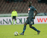Kalidou Koulibaly    in action during the Italian Serie A soccer match between SSC Napoli and Verona  at San Paolo stadium in Naples, October 26, 2014