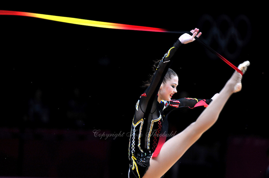 August 11, 2012; London, Great Britain;  ALINA MAKSYMENKO of Ukraine performs with ribbon during AA final at London 2012 Olympics.