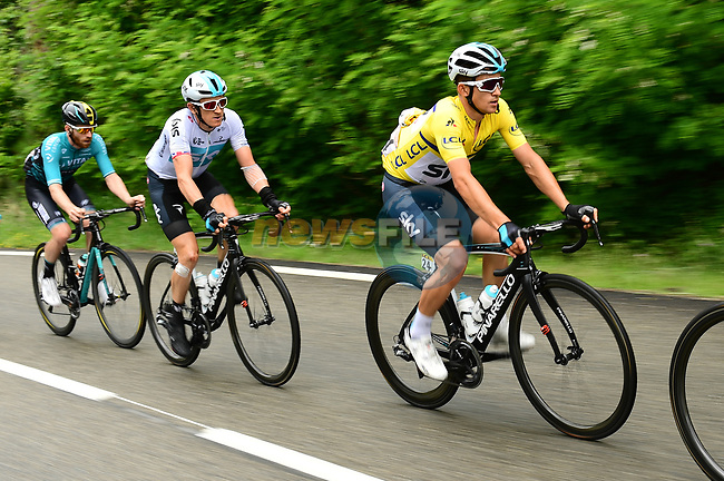 Race leader Michal Kwiatkwoski (POL) Maillot Jeune and Geraint Thomas (WAL) Team Sky in action during Stage 1 of the 2018 Criterium du Dauphine 2018 running 179km from Valence to Saint-Just-Saint-Rambert, France. 4th June 2018.<br /> Picture: ASO/Alex Broadway | Cyclefile<br /> <br /> <br /> All photos usage must carry mandatory copyright credit (© Cyclefile | ASO/Alex Broadway)
