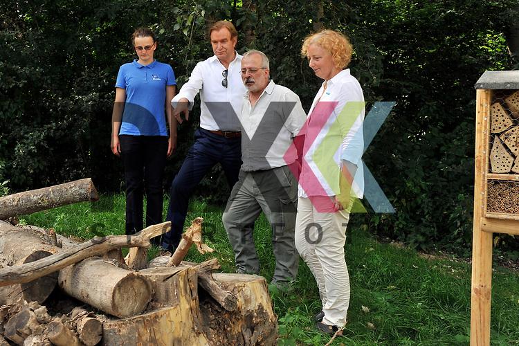 Ludwigshafen 27.06.17 Eroeffnung erste GAG-Bienenweide in Oggersheim Ludwigshafen. Im Bild v.l.: Melanie Mangold (NABU), Ernst Merkel (GAG), Klaus Eisele (Naturschuetzer) und Waltraud Funck (Stadt Ludwigshafen)<br /> <br /> Foto &copy; Ruffler For editorial use only. (Bild ist honorarpflichtig - No Model Release!)