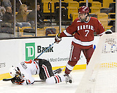 Garrett Vermeersch (NU - 9), Chad Morin (Harvard - 7) - The Northeastern University Huskies defeated the Harvard University Crimson 4-1 (EN) on Monday, February 8, 2010, at the TD Garden in Boston, Massachusetts, in the 2010 Beanpot consolation game.