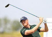 Jeppe Huldahl (DEN) on the 1st tee during Round 1 of the Challenge de Madrid, a Challenge  Tour event in El Encin Golf Club, Madrid on Wednesday 22nd April 2015.<br /> Picture:  Thos Caffrey / www.golffile.ie