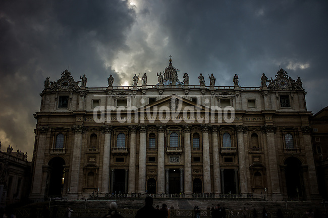 Scenes and life in San Pietro or Saint Peter Square in the Vatican after the surprising resignation of Pope Benedict XVI