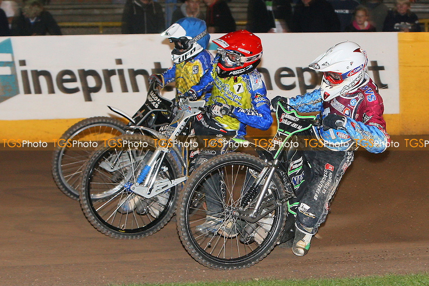 Heat 6: Peter Ljung (white), Bjarne Pedersen (red) and Simon Gustafsson - Eastbourne Eagles vs Lakeside Hammers - Elite League Speedway Play-Off Semi-Final 2nd Leg at Arlington Stadium - 26/09/11 - MANDATORY CREDIT: Gavin Ellis/TGSPHOTO - Self billing applies where appropriate - 0845 094 6026 - contact@tgsphoto.co.uk - NO UNPAID USE.