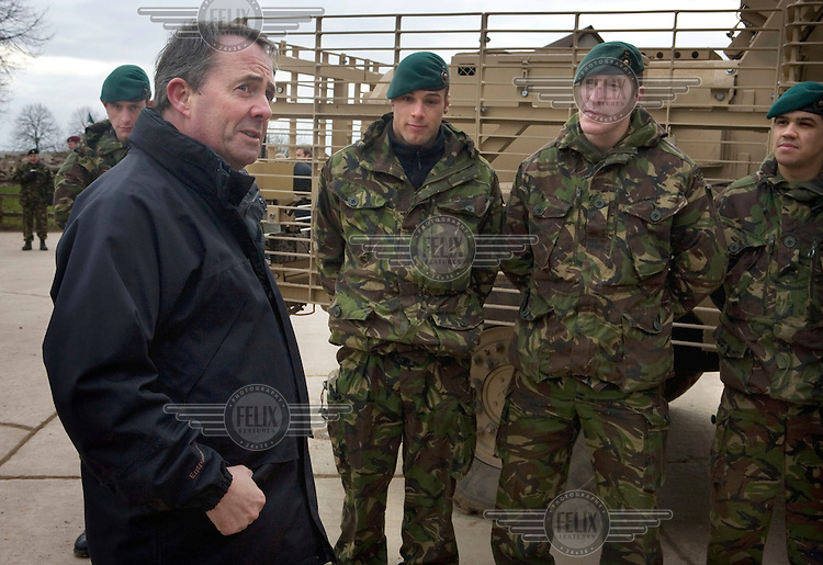 Defence Secretary Liam Fox meets Royal Marine Commandos on Salisbury Plain, as they make final preparations for their training before they are deployed to the Helmand Province.