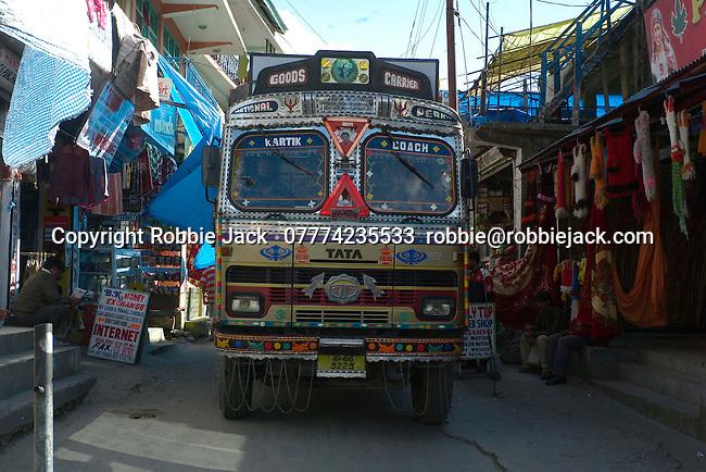 Goods truck on the main street in Vashisht, Himachal Pradesh, India.