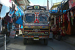 Goods truck on the main street in Vashisht, Himachal Pradesh, India.