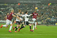 Michail Antonio of West Ham United heads over during West Ham United vs Fulham, Premier League Football at The London Stadium on 22nd February 2019