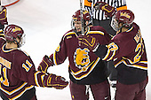 Matt Stefanishion, Mark Bomersback, Greg Rallo celebrate - The Ferris State Bulldogs defeated the University of Denver Pioneers 3-2 in the Denver Cup consolation game on Saturday, December 31, 2005, at Magness Arena in Denver, Colorado.