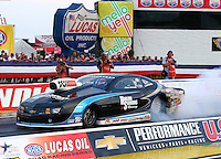 Aug 29, 2014; Clermont, IN, USA; NHRA pro stock driver Chris McGaha during qualifying for the US Nationals at Lucas Oil Raceway. Mandatory Credit: Mark J. Rebilas-USA TODAY Sports