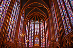 Stained-glass windows inside the 13th century Gothic chapel of Sainte-Chapelle in Paris, France